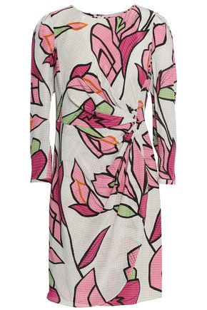 EMPORIO ARMANI Wrap-effect printed silk crepe de chine mini dress