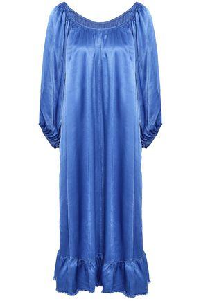 RAQUEL ALLEGRA Gathered fluted satin dress