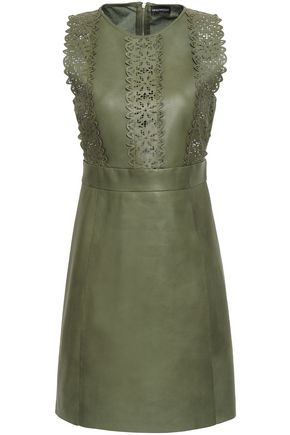 EMPORIO ARMANI Laser cut-trimmed leather and cotton mini dress