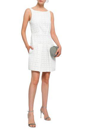 EMPORIO ARMANI Pleated laser-cut woven mini dress