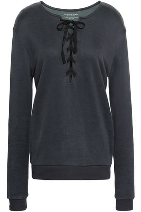 MAJESTIC FILATURES Lace-up French cotton-blend terry top