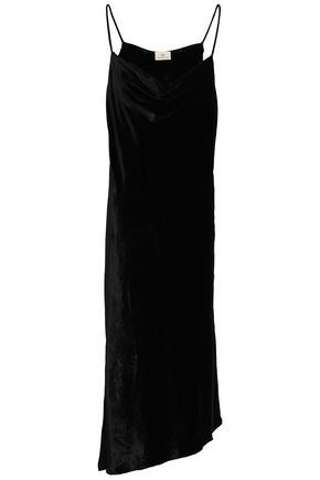 AG JEANS Asymmetric velvet midi dress