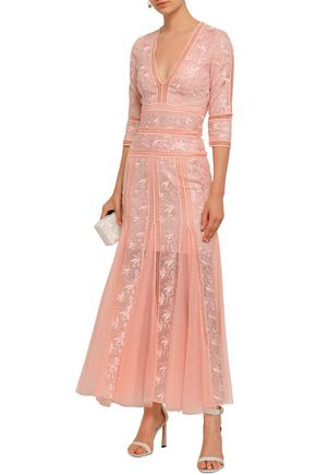 COSTARELLOS Fluted embroidered lace and point d'esprit gown