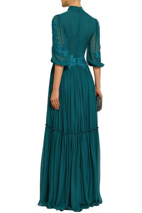 COSTARELLOS Pussy-bow appliquéd silk-georgette gown