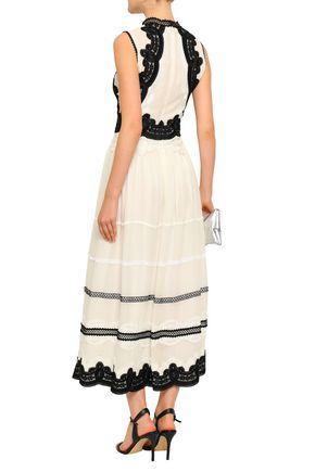 COSTARELLOS Lace-trimmed gathered georgette midi dress