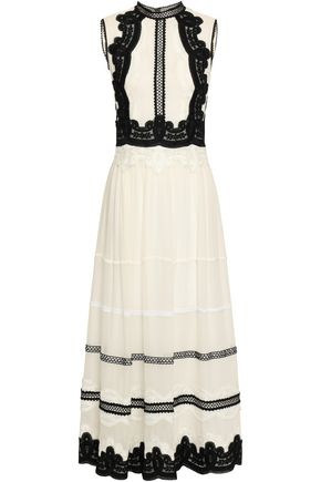COSTARELLOS Lace-trimmed gathered georgette midi dress