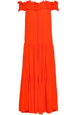 RAQUEL ALLEGRA Off-the-shoulder frayed crepe midi dress