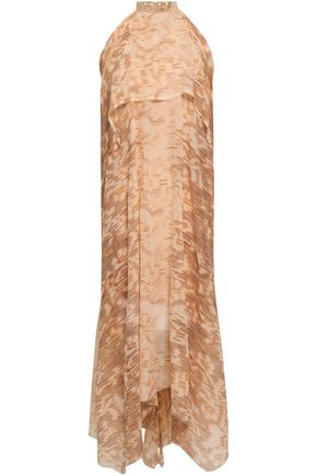 KITX Layered printed silk-chiffon halterneck midi dress