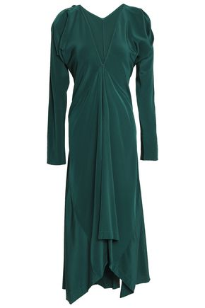 KITX Draped silk-satin midi dress