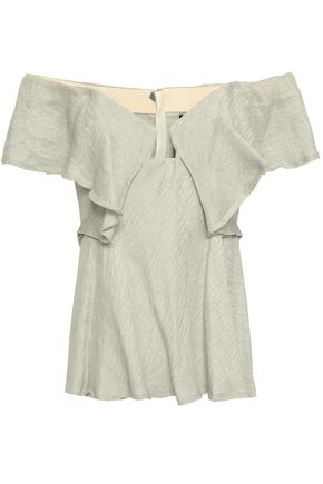 KITX Off-the-shoulder ruffled hemp and silk-blend top