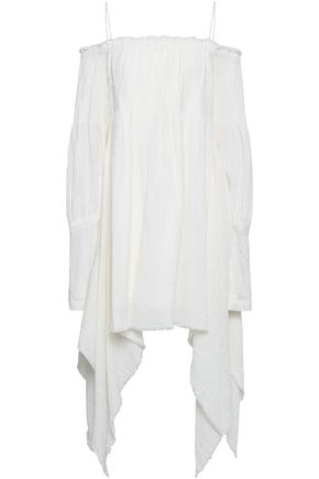 KITX Cold-shoulder draped crinkled linen mini dress