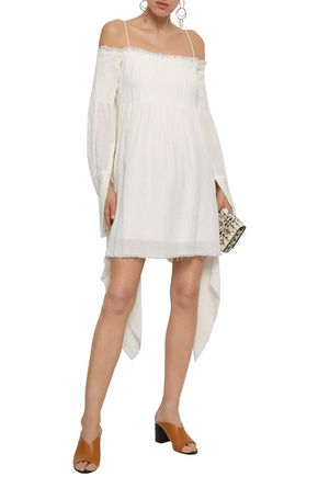 KITX Cold-shoulder draped crinkled linen mini dress