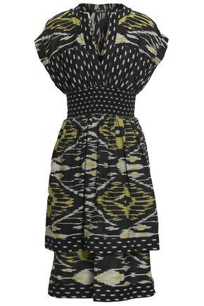 KITX Shirred printed silk and cotton-blend dress