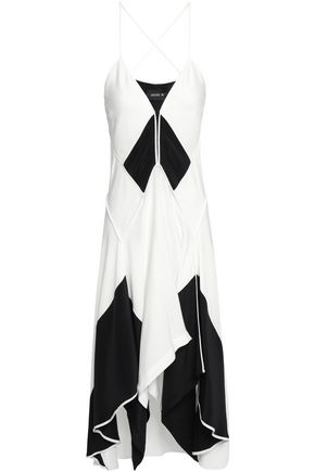 KITX Asymmetric draped two-tone silk-crepe midi dress