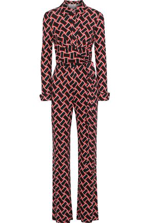 DIANE VON FURSTENBERG Michele belted printed silk-jersey jumpsuit