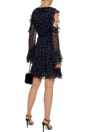 DIANE VON FURSTENBERG Joni cold-shoulder ruffled floral-print silk-georgette mini dress