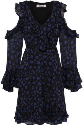 DIANE VON FURSTENBERG Joni cold-shoulder ruffled floral-print silk-georgette mini dress