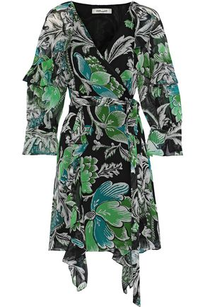 DIANE VON FURSTENBERG Marianna printed silk-georgette mini wrap dress
