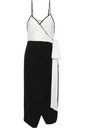 DIANE VON FURSTENBERG Avila two-tone crepe midi wrap dress