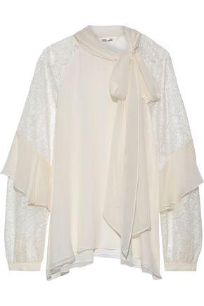 DIANE VON FURSTENBERG Mariela pussy-bow lace-paneled silk-georgette blouse
