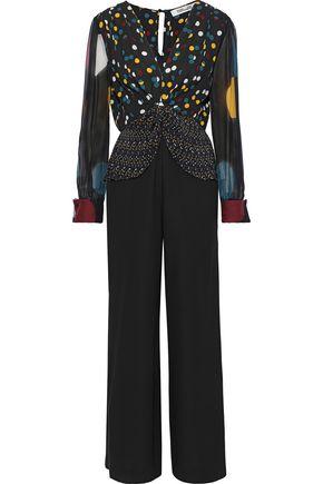 DIANE VON FURSTENBERG Sophie tie-front polka-dot silk-chiffon and crepe jumpsuit
