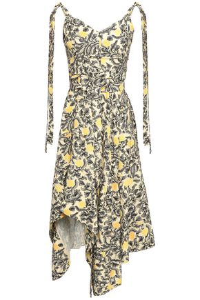 PROENZA SCHOULER Asymmetric draped printed crepe dress