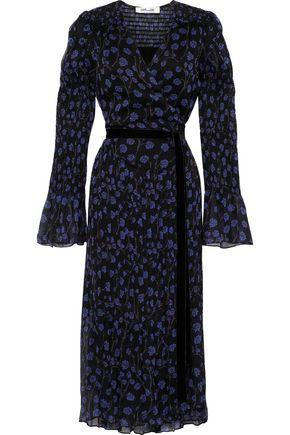 DIANE VON FURSTENBERG Ani shirred floral-print silk-georgette midi wrap dress