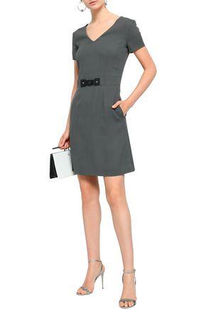 2f56af0ea577 GIORGIO ARMANI Faux leather-trimmed stretch-crepe mini dress
