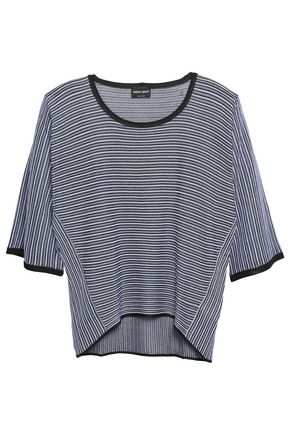 GIORGIO ARMANI Striped silk-blend top