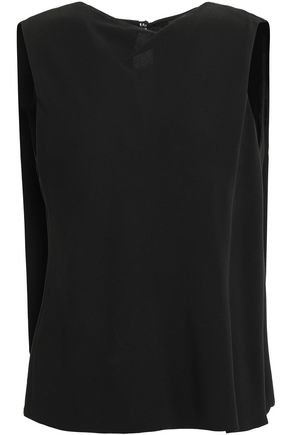 GIORGIO ARMANI Paneled silk-crepe top