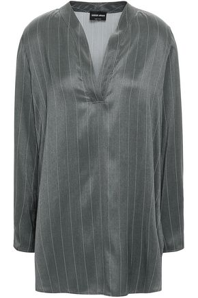 GIORGIO ARMANI Pinstriped silk-satin blouse
