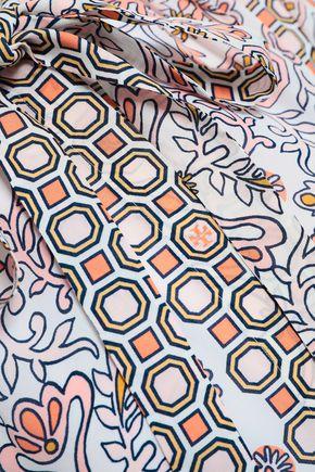 TORY BURCH Pussy-bow printed silk crepe de chine shirt