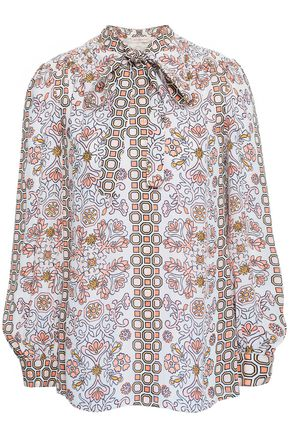 TORY BURCH Pussy-bow printed silk crepe de chine shirt