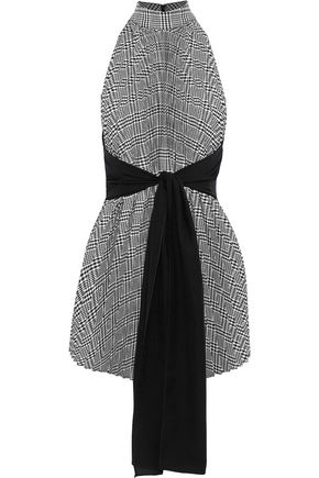 TOME Tie-front houndstooth woven top