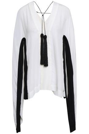 KITX Two-tone silk-crepe blouse