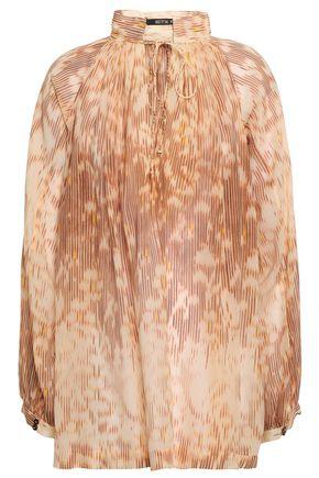 KITX Gathered printed silk-chiffon blouse