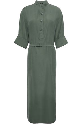 JOSEPH Barker belted washed-silk midi shirt dress