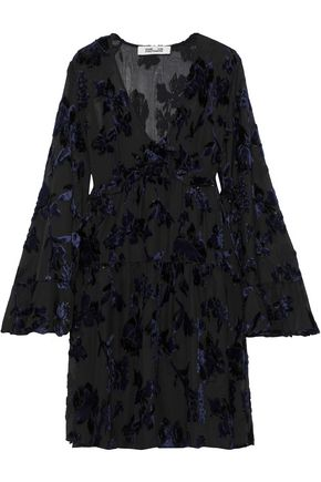 DIANE VON FURSTENBERG Adelita ruffle-trimmed metallic devoré-chiffon mini dress