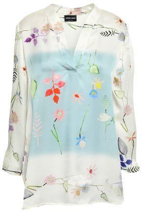 GIORGIO ARMANI Floral-print silk-satin blouse
