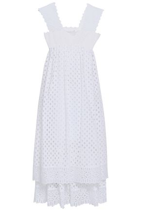 TORY BURCH Tiered broderie anglaise cotton midi dress