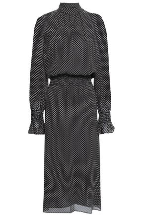 TORY BURCH Shirred printed silk-georgette midi dress