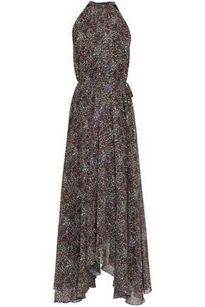SALONI Irina leopard-print chiffon halterneck midi dress