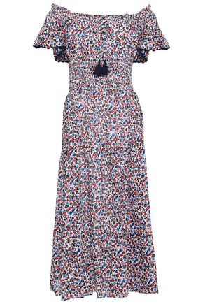 TORY BURCH Off-the-shoulder tiered floral-print cotton midi dress