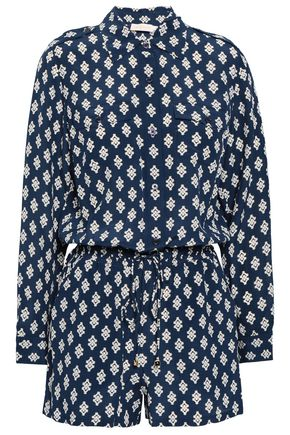 TORY BURCH Gathered printed silk playsuit