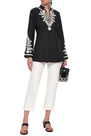 TORY BURCH Bead-embellished embroidered cotton-poplin tunic