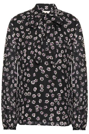 TORY BURCH | Tory Burch Pussy-Bow Floral-Print Silk-Crepe Blouse | Goxip