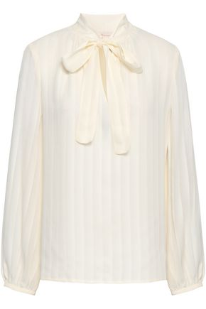 TORY BURCH Pussy-bow pleated silk crepe de chine blouse