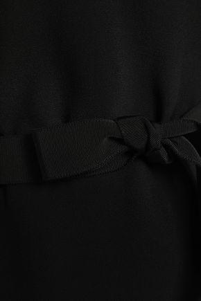 EMPORIO ARMANI Grosgrain-trimmed satin-crepe and silk-chiffon top