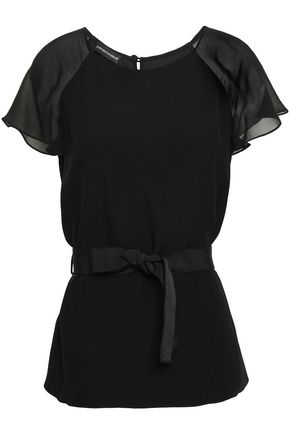 EMPORIO ARMANI Grosgrain-trimmed satin-crepe and silk-chiffon top