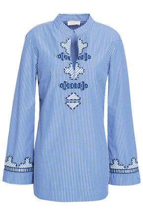 TORY BURCH Embroidered striped poplin tunic